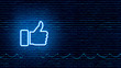 canvas print picture - Neon Glowing Like (thumb) Button for Social Media on Brick Wall. Neon Facebook like icon illustration.