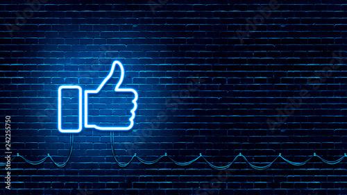 Fotografía  Neon Glowing Like (thumb) Button for Social Media on Brick Wall