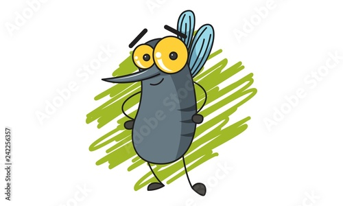 Foto auf AluDibond Ziehen Vector cartoon illustration of cute mosquito standing. Isolated on white background.