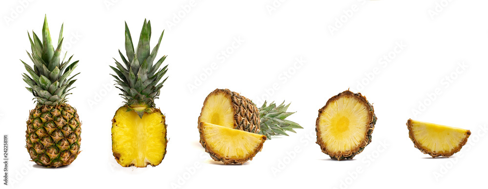 Fototapeta Fresh whole and cut pineapple isolated on white background