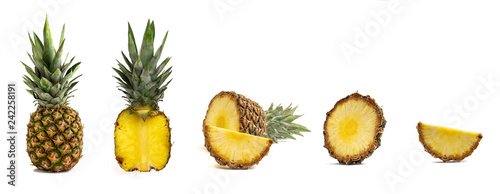 Fresh whole and cut pineapple isolated on white background Fototapeta