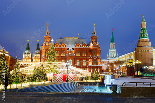 Moscow, Russia, Manezhnaya square. New Year and Christmas. Manezh square in Moscow was decorated with Christmas tree and decorative designs.