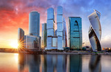 Moscow city, Russia. Moscow International Business Center at sunset - 242258794