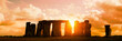Leinwandbild Motiv Panorama of Stonehenge at sunset, United Kingdom