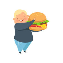 Overweight Boy With A Huge Burger, Cute Chubby Child Cartoon Character Vector Illustration On A White Background.