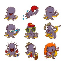 Vector Set Of Purple Octopuses In Different Actions. Marine Creatures With Tentacles. Funny Cartoon Characters