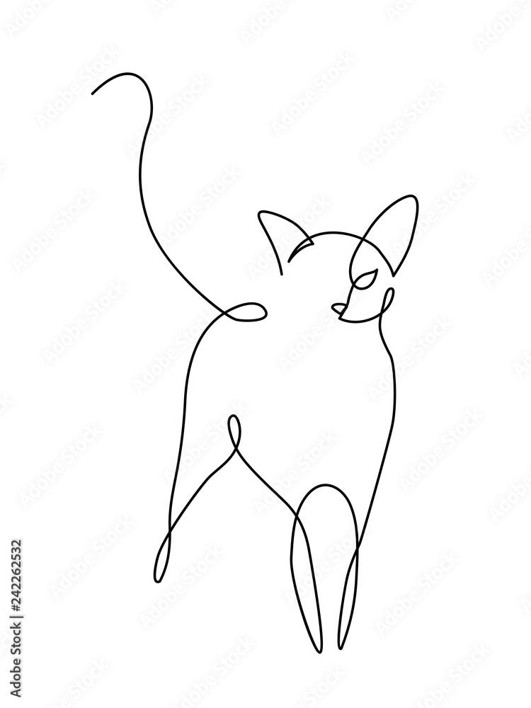 Minimalistyczna grafika liniowa kotów
