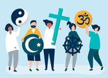 People Holding Diverse Religious Symbols Illustration