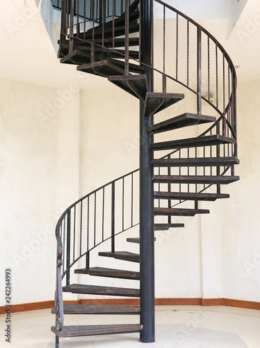Tuinposter Trappen Metal iron circle stair.
