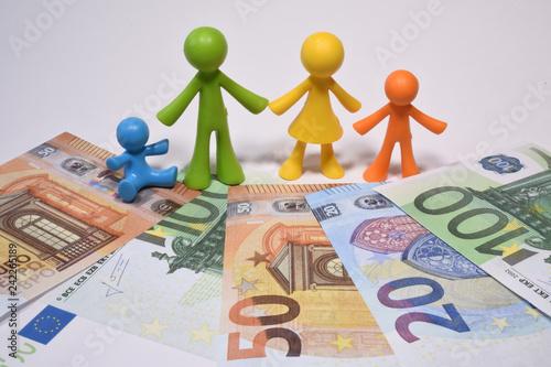 famille famillial parent enfant argent euro Canvas Print