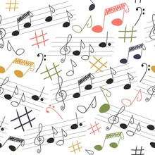 Cute Musical Vector Seamless Pattern, Colorful Hand Drawn Pink Elements On Bright Neutral Background. Cute Music Notes, Bass Key, Clef, Sheet Music.