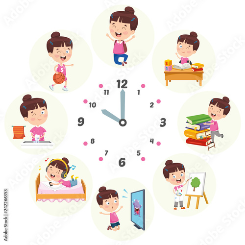 Fotomural Vector Illustration Of Kids Daily Routine Activities