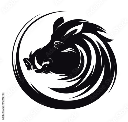 Canvas Print Boar head profile silhouette, art tattoo illustration