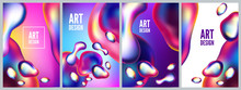 Abstract Metal Elements With An Iridescent Color Effect Backlit. Set Backgrounds And Posters Of Liquid Bubble. Modern 3d Vector Illustration. Template For Design, Flyer Or Presentation.