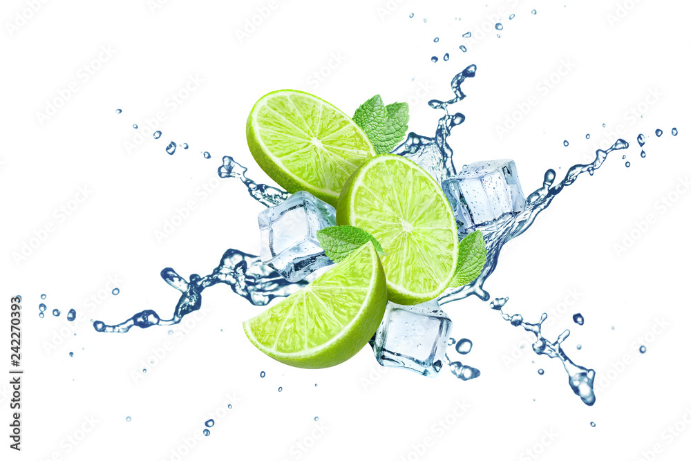 Fototapeta Fresh limes, mint leaves, ice cubes and water splashes, isolated on white background