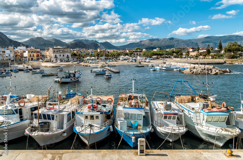 Foto op Plexiglas Cyprus Fishing boats in the small harbor of Isola delle Femmine or Island of Women, province of Palermo, Sicily, Italy