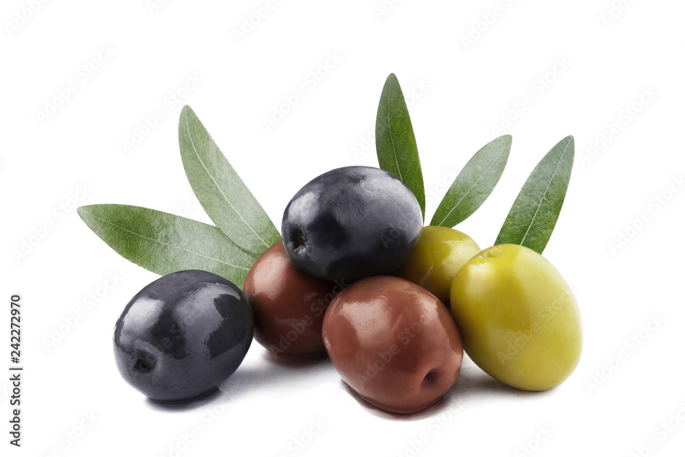 Fototapety, obrazy: Delicious olives with leaves, isolated on white background
