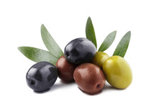 Delicious Olives With Leaves, Isolated On White Background