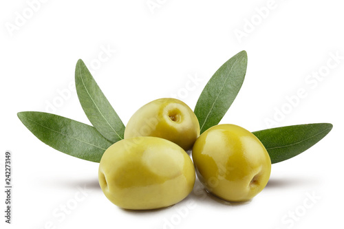 Green olives with leaves, isolated on white background