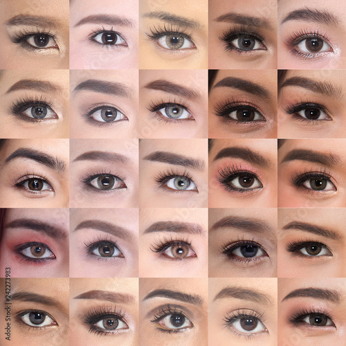 Fotografía  Many Brown Eyes Eyebrows set of Asian Woman 20's in fresh face, with make up in