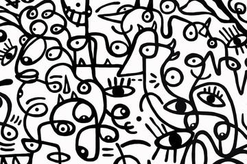 Crno-bijeli uzorak na bijeloj pozadini, apstraktni dizajn