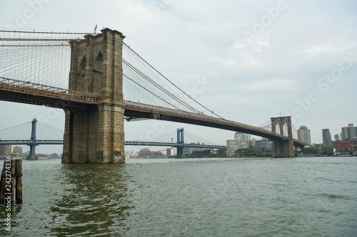 Fotobehang Brooklyn Bridge Beautiful view on Brooklyn and Manhattan Bridge in New York City