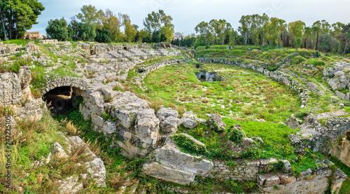Photo Roman Amphitheatre. Syracuse, Sicily, Italy