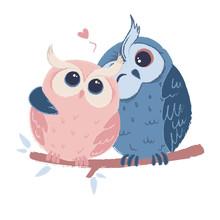 Two Cute Hugging Owls In Love....