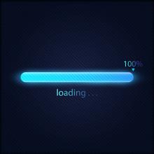 Blue Progress Loading Bar 100% Vector Illustration, Technology Concept