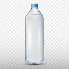 Mineral Drinking Water Bottle On Transparent Background, Vector Illustration 3d