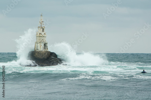 Lighthouse Print Storm In The Sea Photo