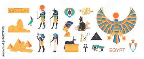 Fotografia Ancient Egypt set - gods, deities of Egyptian pantheon, mythological creatures, sacred animals, holy symbols, hieroglyphs, architecture and sculpture