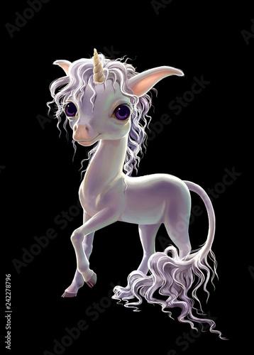 Fotografía  white unicorn isolated on black background