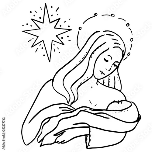 Christmas Jesus Birth Drawing.Holy Family And Christmas Star Theotokos And Infant Christ