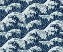 A Japanese Great Wave Pattern Print Seamless Background Illustration