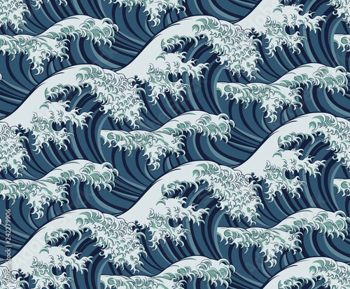 A Japanese great wave pattern print seamless background illustration Canvas Print