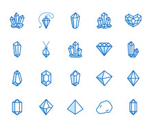 Crystals Flat Line Icons Set. ...