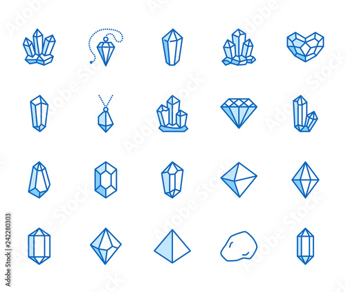 Crystals flat line icons set Canvas Print