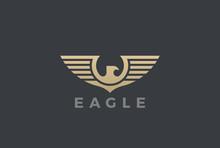 Eagle Wings Logo Design Vector Heraldic. Falcon Hawk Flying Icon