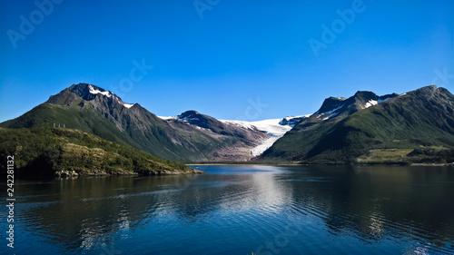 Fotografie, Obraz  Panorama view to Nordfjorden and Svartisen glacier, Meloy, Norway
