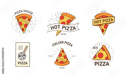 Fotografía Bundle of colored logotypes with appetizing pizza slices, wheel cutter and rays hand drawn in retro style