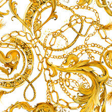 Gold Chains Seamless Pattern. ...