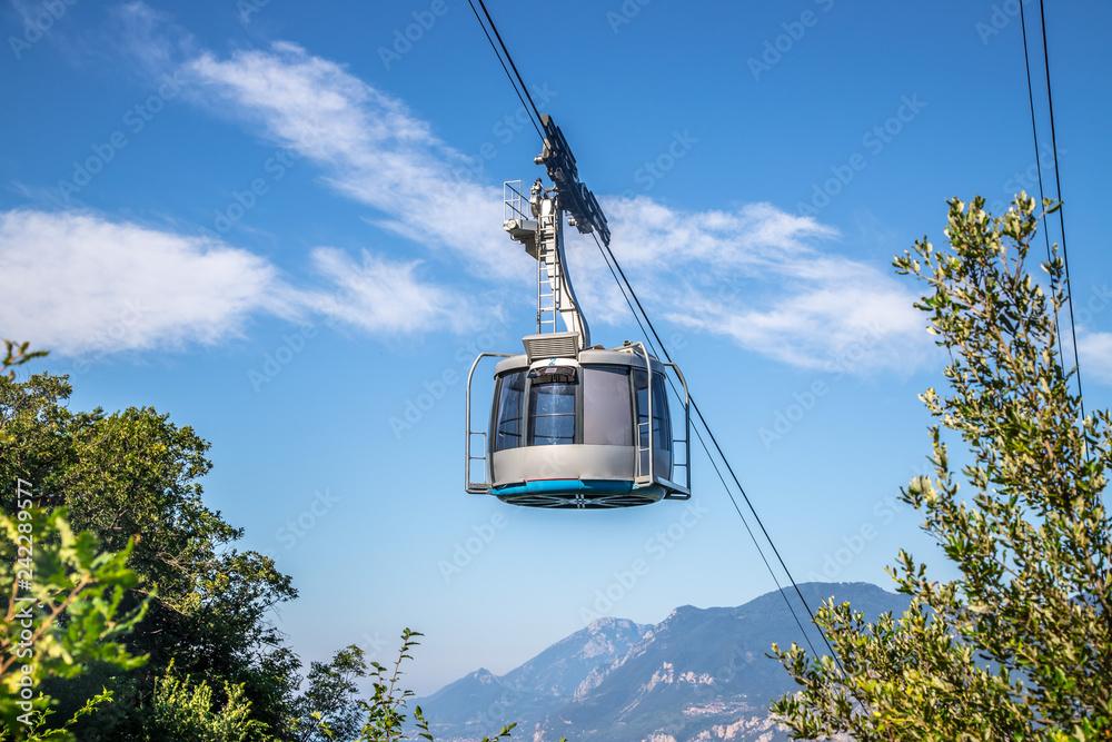 Fototapety, obrazy: Cable car on a beautiful summer day, landscape monte baldo, lago di garda