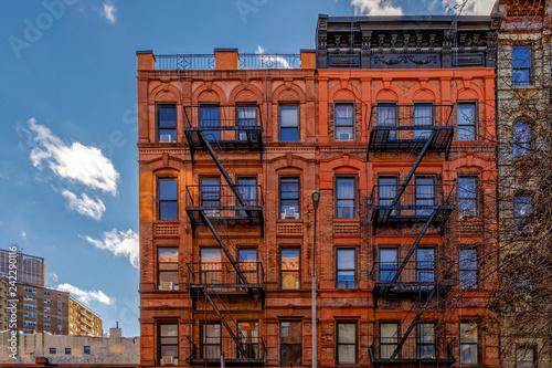 Fotografia, Obraz New-York building facades with fire escape stairs