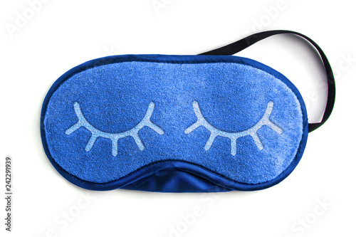 Blue sleeping eye mask, isolated on white background