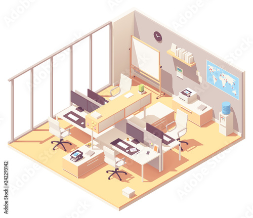 Vector Isometric office with cubicle