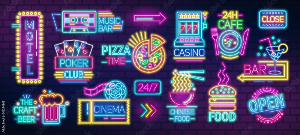 Fototapety, obrazy: Collection of symbols, signs or signboards glowing with colorful neon light for poker club, casino, pizzeria, Chinese food cafe or restaurant, motel, cocktail bar. Bright colored vector illustration.