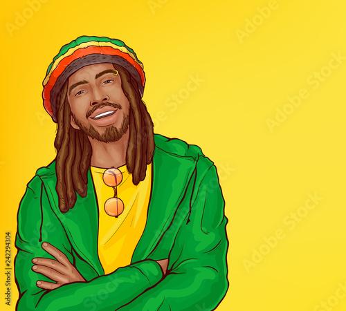 Obraz na płótnie Vector pop art male character - smiling rasta guy with dreadlocks