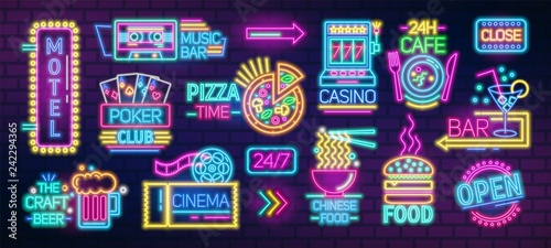 Collection of symbols, signs or signboards glowing with colorful neon light for poker club, casino, pizzeria, Chinese food cafe or restaurant, motel, cocktail bar. Bright colored vector illustration.