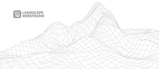 Abstract wireframe background. 3D grid technology illustration landscape. Digital Terrain Cyberspace in the Mountains with valleys. Data Array.   EPS10 Vector.